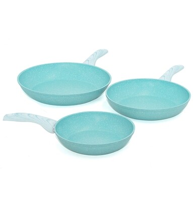 3 pieces cookware set 'Miss Gourmet' with turquoise wood colour handles