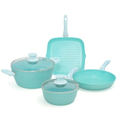6 pieces cookware set 'Miss Gourmet' with turquoise wood colour handles