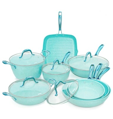13 pieces cookware set 'Miss Gourmet' with turquoise colour handles