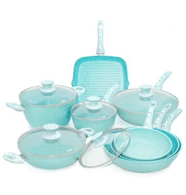 13 pieces cookware set 'Miss Gourmet' with turquoise wood colour handles