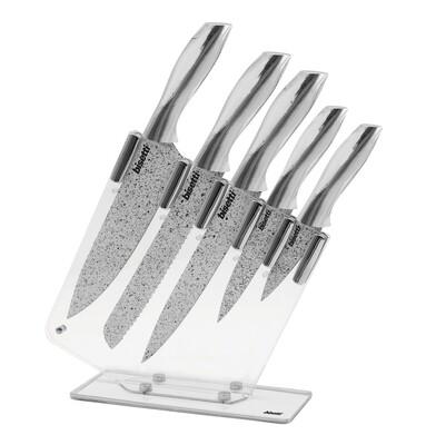 Set 5 coltelli 'Stonewhite' con manici colore argento e ceppo in acrilico trasparente