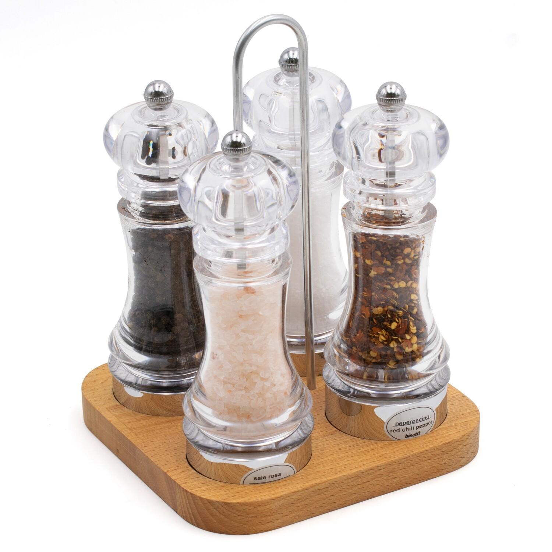 4 macine sale e pepe con base in legno - 13 cm