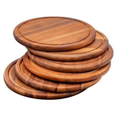 6 serving boards in acacia - 25 cm
