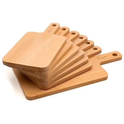 7 taglieri rettangolari in legno di faggio
