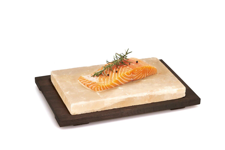 Plaque de sel rectangulaire avec base en bois wenge