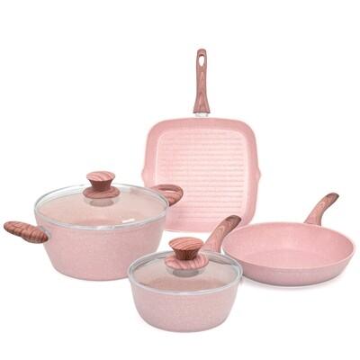 Batteria di pentole 6 pezzi 'Stonerose' con manici design legno rosa