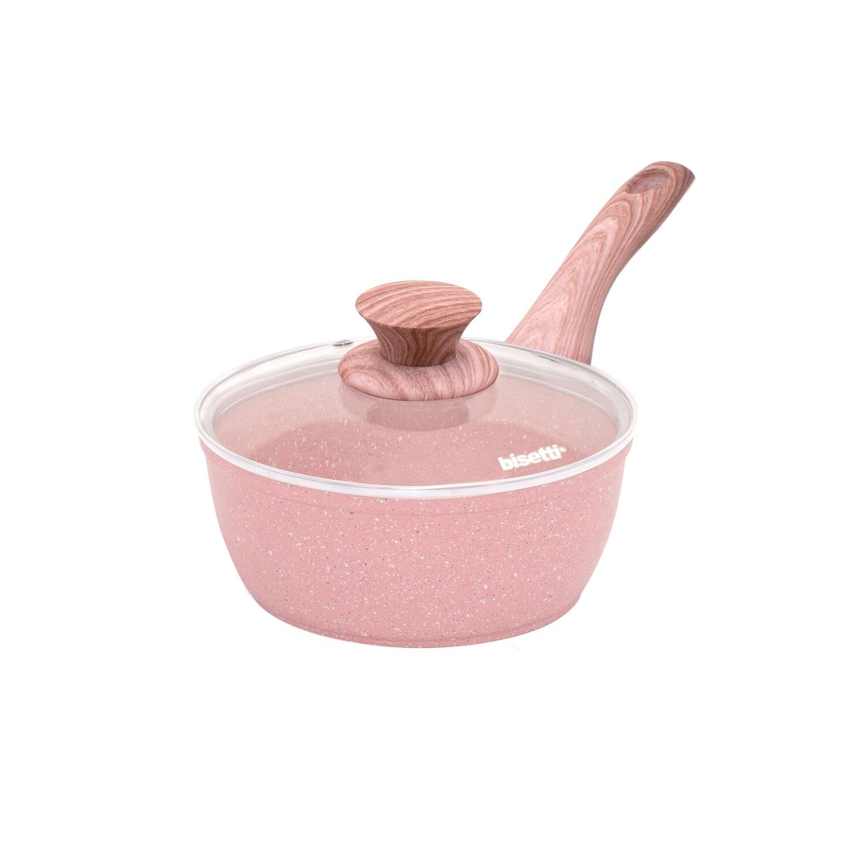 Casseruolino ø 18 cm 'Stonerose' con coperchio e manico design legno rosa