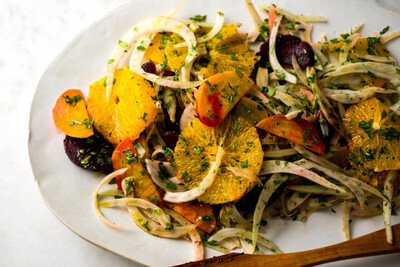Roast Beet, Poached Pear And Fennel Salad