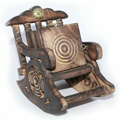 Wooden Antique Look Chair Shape Coaster Set Gift Item