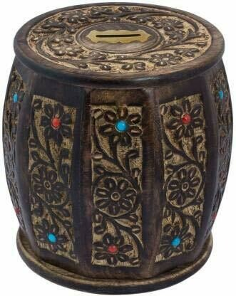 Antique Wooden Handmade Dholak Shaped Money Bank for kids and adults