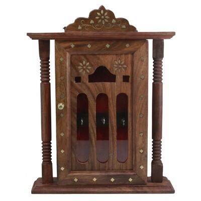 Wood Handicraft Key Holder - Pillar Design   Temple Shape