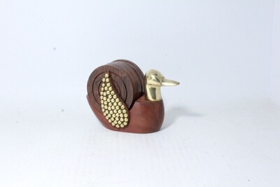 Unique Duck Shaped Brass and Wood Tea Coaster