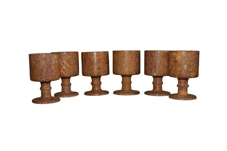 Fossil Habur Stone Wine Glass Set of 6 ( 100% Authentic ) Jaisalmer Exclusive