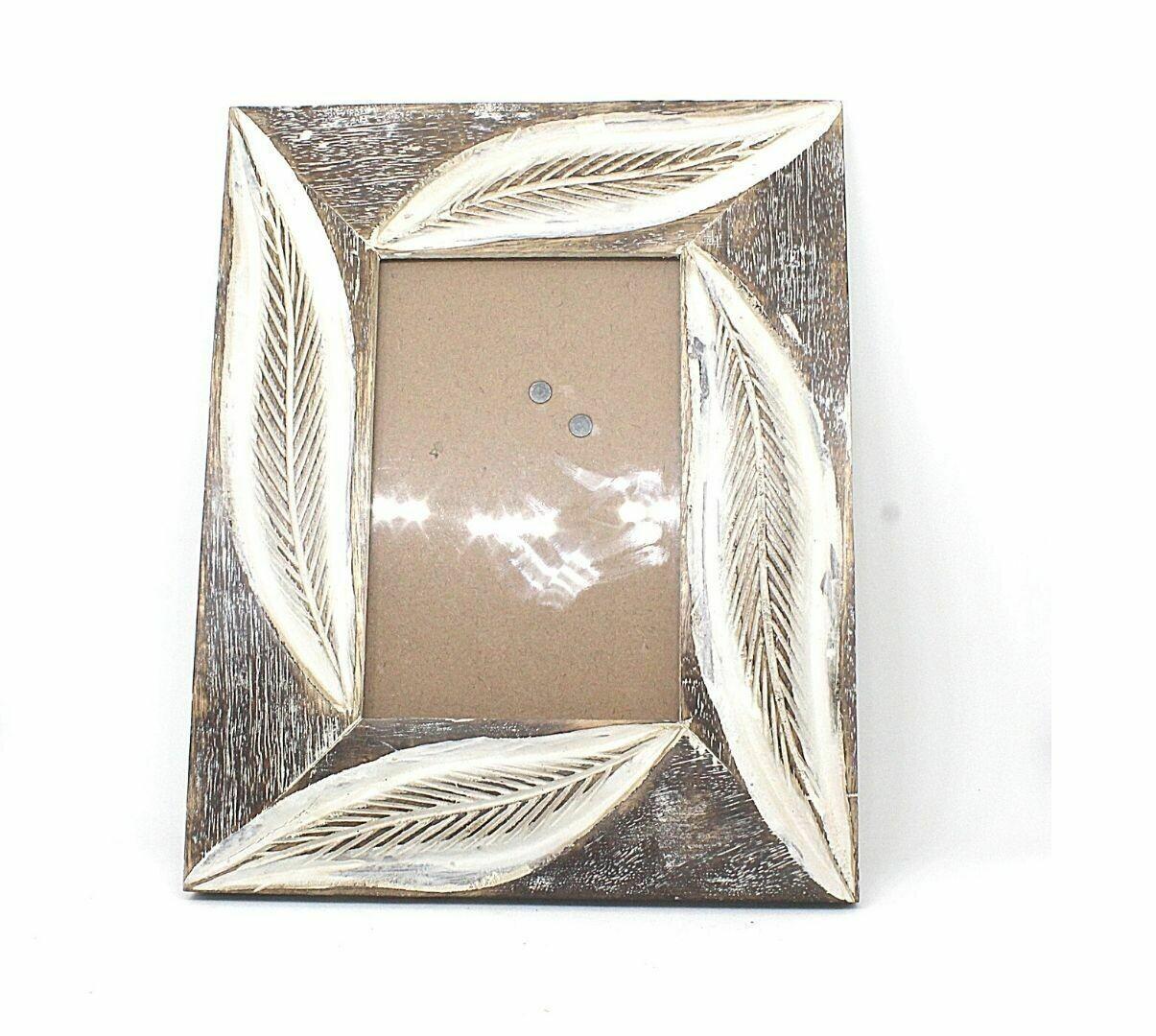 Photo Frame Cutter White Leaf Design