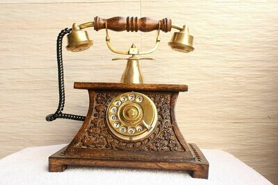 Traditional Vintage Royal Look Wooden Telephone | Old Fashion Rotatory Numbers Dial | Antique Design Rotary Landline Phone