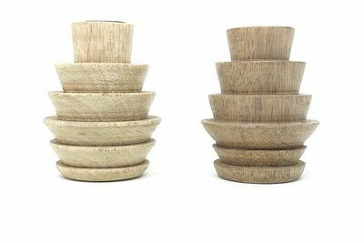Wooden Candle Stand Holder Antique Design Decorative Handicraft for Gifting Set of 3