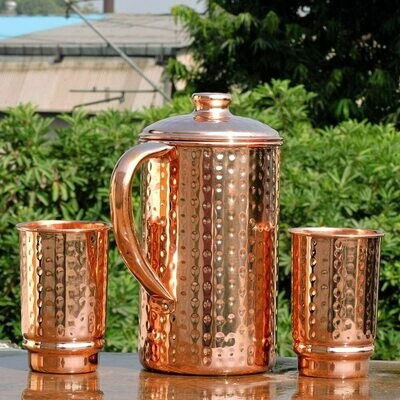 Hammered Water Jug With Copper Tumblers | Get Ayurveda Health Benefit | Copper Pitcher and Tumblers