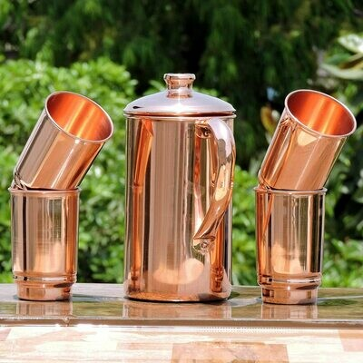 Pure Copper Water Jug With Copper Tumblers | Get Ayurveda Health Benefit | Copper Pitcher and Tumblers