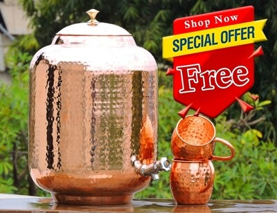 Pure Hammered Copper Dispense With Free Moscow Mule Mug | Get Ayurveda Health Benefit | Keep Yourself and Your Family Healthy