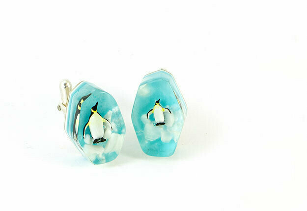 Penguin cufflinks - organic shape