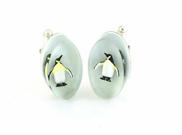Oval penguin cufflinks