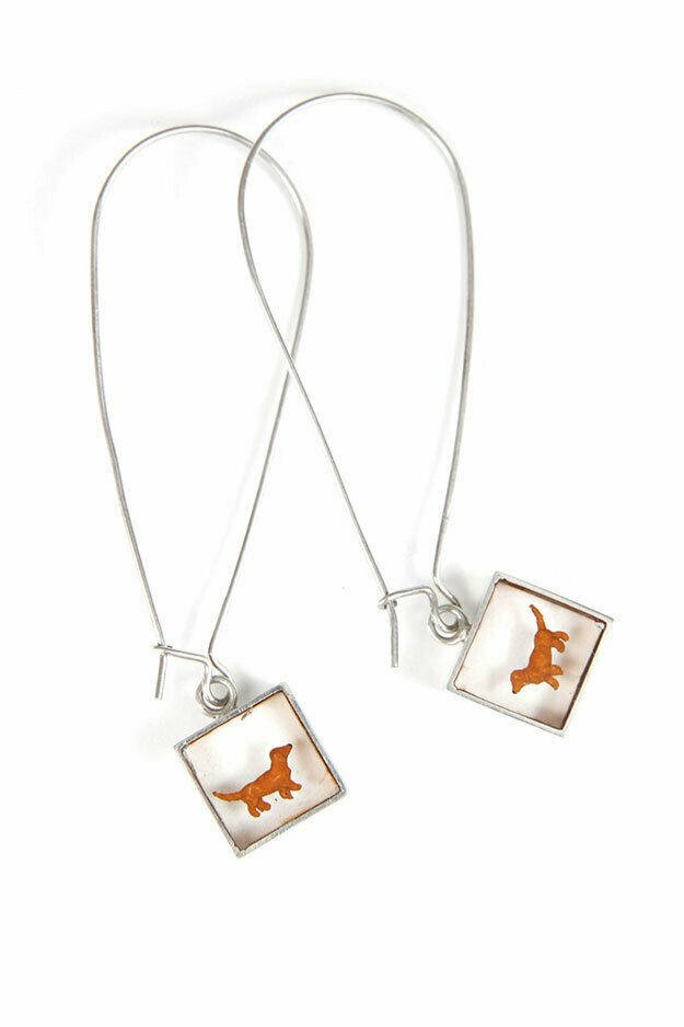 Dachsie cube earrings