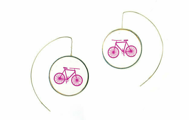 Pink bicycle earrings