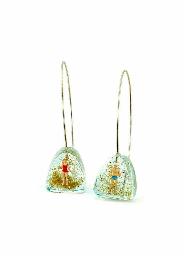 Seaside curved triangle earrings