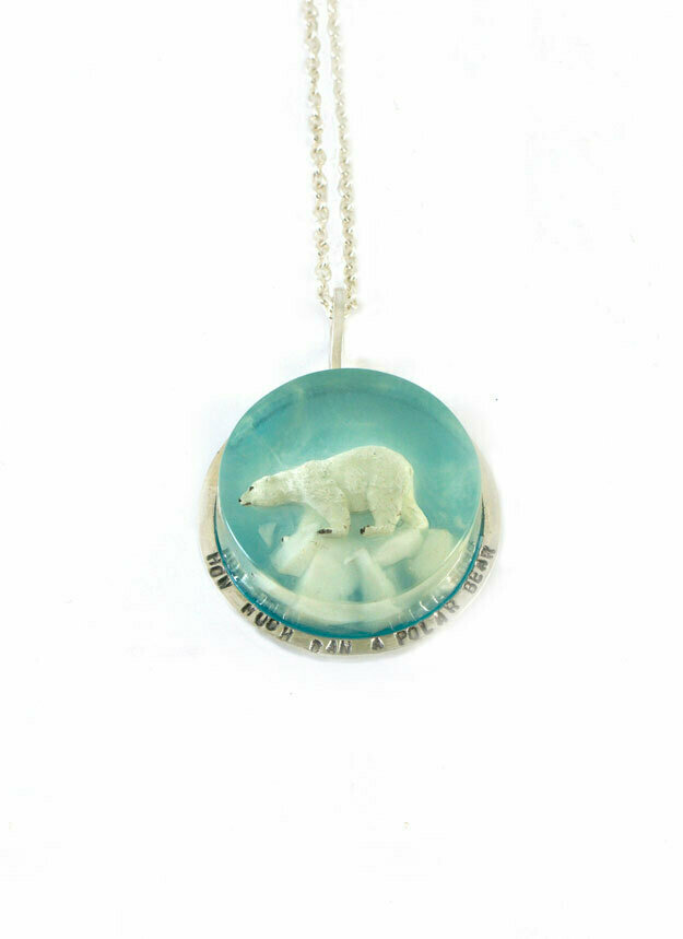 Small polar bear disk necklace