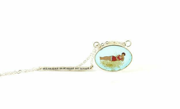 1900s bather oval pendant