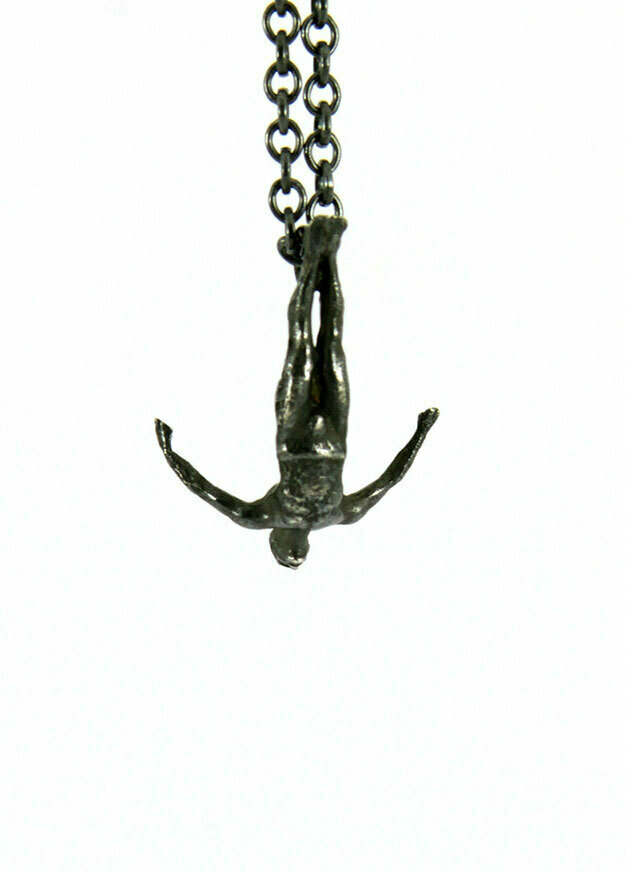 Swan dive necklace, oxidised