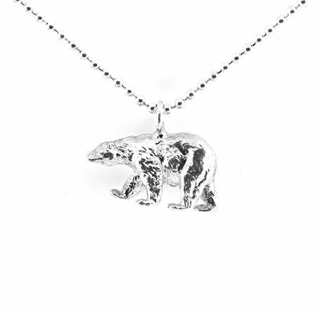 Walking polar bear necklace