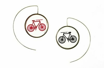 Black and red bicycle earrings