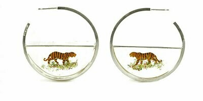 Tiger resin and silver hoops