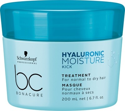 Schwarzkopf BC Hyaluronic Moisture Kick Treatment Mask 200ml  Schwarzkopf BC Hyaluronic Moisture Kick Treatment Mask is a deeply moisturizing mask for dry to normal, especially for wavy and curly hair