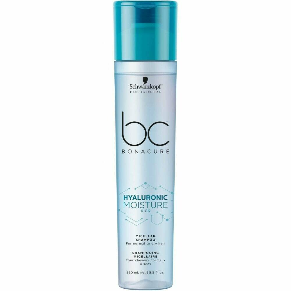 SCHWARZKOPF PROFESSIONAL BC Bonacure Hyaluronic Moisture Kick Micellar Shampoo 250ml  is a moisturizing shampoo for normal to dry and wavy or curly hair.