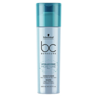 Schwarzkopf BC Hyaluronic Moisture Kick Conditioner 200ml Schwarzkopf BC Hyaluronic Moisture Kick Conditioner is a lightweight conditioner for dry to normal hair, wavy and curly in need of a daily boo