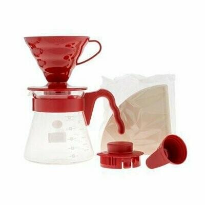 Hario V60-02 Coffee Server Set (Pour Over Kit) - Rood
