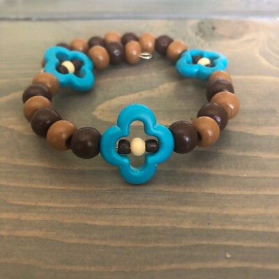 Turquoise Magnesite with Wooden Beads