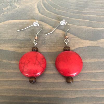 Red Howlite Gemstone Earrings