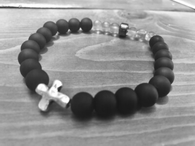 Matte Black Bracelet with Silver Cross