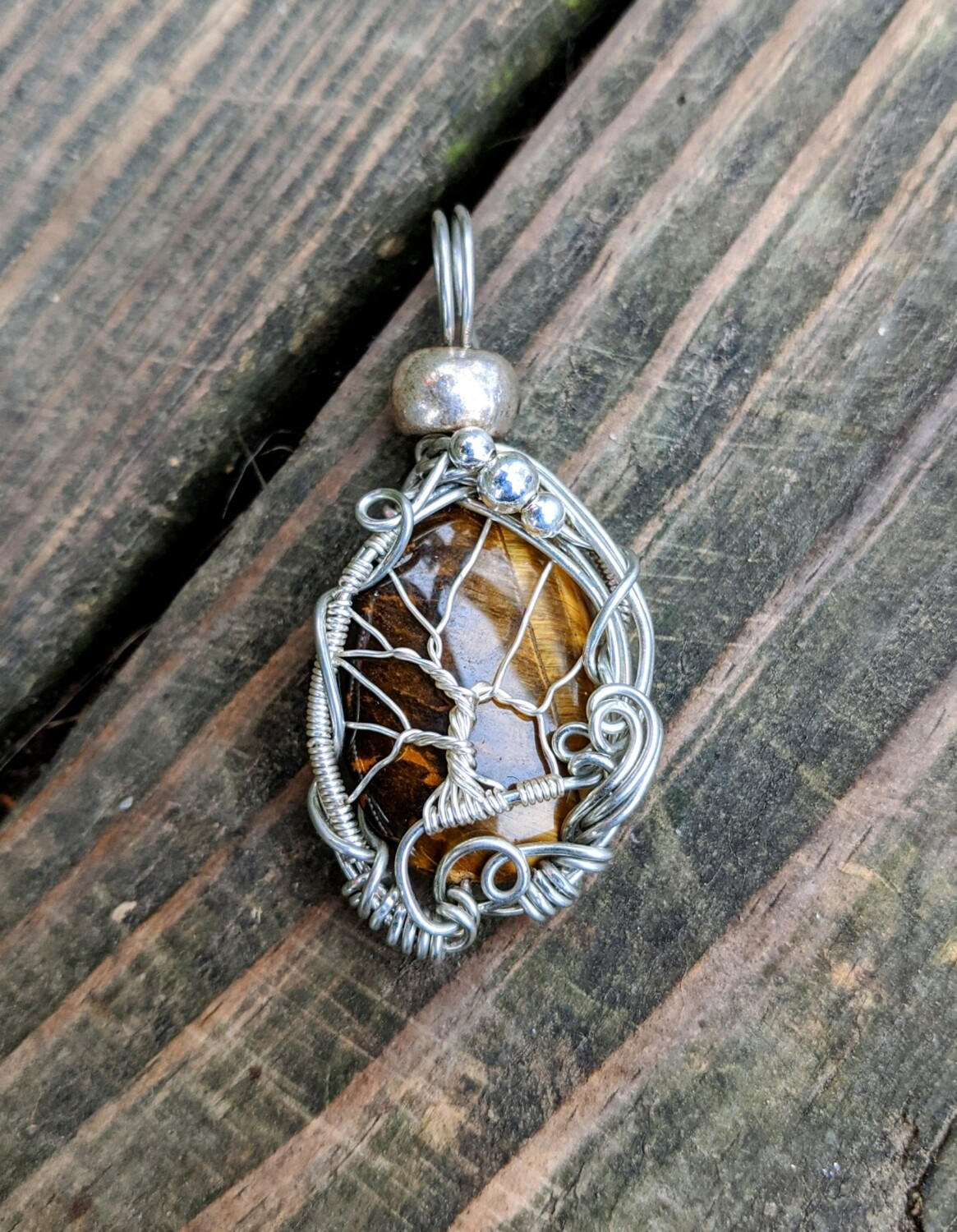 Tigers Eye Tree of Life Pendant