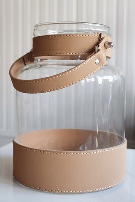 Glass Container with Leather Detail