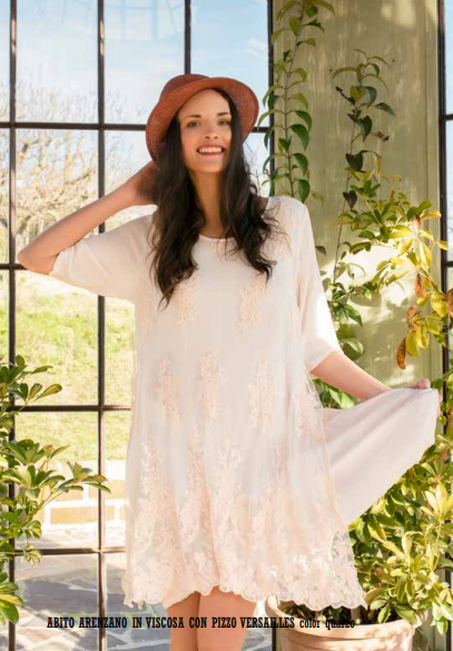 Abito Arenzano -Lace and Linen dress with sleeves