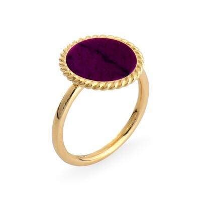 ELINA YELLOW GOLD RING & CHAROITE PURPLE