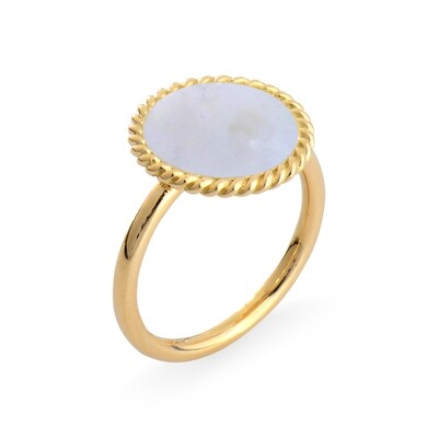 ELINA YELLOW GOLD RING & MOTHER OF PEARL