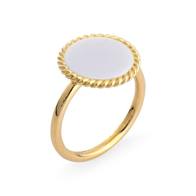ELINA YELLOW GOLD RING & WHITE AGATE