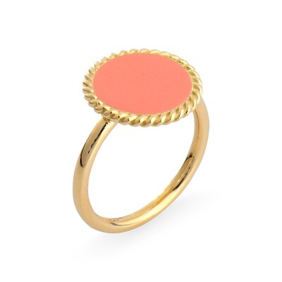 ELINA YELLOW GOLD RING & CALCITE PINK