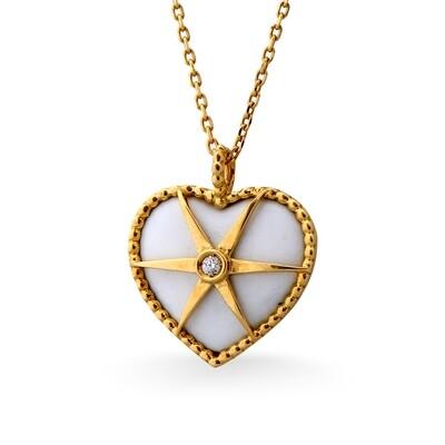MYSTERY YELLOW GOLD PENDANT, WHITE ENAMEL & DIAMOND