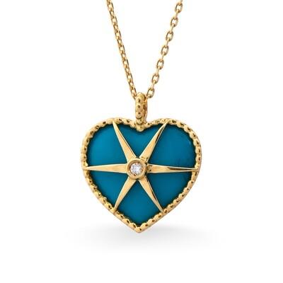 MYSTERY YELLOW GOLD PENDANT, TURQUOISE ENAMEL & DIAMOND